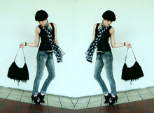 LINDA HAO LIYUAN - Shanghai Black Metallic Tank, Nine West Fringe Tote, Shanghai Acid Washed Grey Jeans, Shanghai Lace Up Mary Jane Heels - Move move shake shake