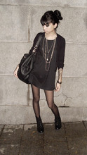 Doralin Kelly - Sheer Black Tights, Combat Boots, Silver Chains, Black Cardigan, Black Shift Dress, Black Duffel Bag - You are the sun, you are the only one.