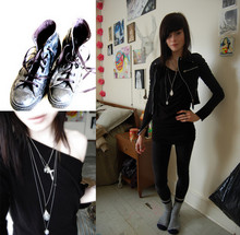 P B - Converse Black Leather Chucks, Black Boat Neck Dress, Silver Paraphernalia, Wollies!, Black Cotton Zippy Blazer - Paraphernalia
