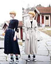 Arvida Byström - H&M Shirt, Secondhand Skirt, Converse, H&M Coat, Topshop Belt, H&M Socks - Full-length.