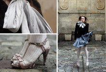 Eleonore Bridge - H&M Beloved Jacket, Julien Granero For Bata Cinderella Python Shoes, Princesse Tam White Socks, H&M Blue Scarf - Cinderella in Paris