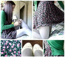Danielle F - Floral 90's Dress, Target Heather Grey Tights, H&M Green Cardigan, H&M Cream Ballet Flats - You don't love me the way that I love you
