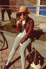 Mimmi Monologi - H&M Hat, H&M Sunglasses, H&M Jacket, Mom's Tintin Shirt, Self Customized High Waist Shorts, Vagabond Shoes - Spring's first ice cream