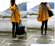 "Menthale . - My Mom Made This One:) Knitted Mustard Sweater, H&M ""Silver"" Scarf, H&M Big Black Bag - Big Yellow Taxi"