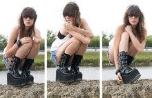 Roxy Starr - Demonia Platform Boots, Lei Cut Off Shorts, Forever 21 Oversized White Tank Top, American Apparel Bra - Vulchers
