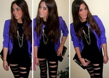 Laura Perez - H&M Purple Jacket, Local Store Crash Tights, Vintange Grandma's Handbag - Purple rain