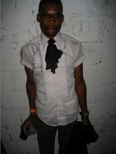 Reuel R. - Salvation Army Vintage Tuxedo Shirt W/ Embroidery By Me!, Black Scrap Of Lycra Fabric...., Kenneth Cole Watch - SOMETHING THROWN ON FOR A '07 Misshapes PARTY