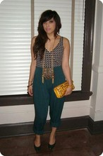 Yuka I. - Vintage Bathing Suit, Thrifted Gold Tassle Necklace, Buffalo Exchange Patent Leather Studded Clutch, Thrifted Green Pants, Vintage Green Pumps - Teen lovers
