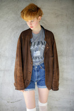 Arvida Byström - Marc By Jacobs T Shirt, Fathers Jacket, Stocking, Second Hand Shorts - Marc by Marc