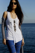 DiLay Kemer - Mango Diy Jeans, Zara White Top, Vintage Pendant, Ray Ban Black Wayfarers, Polo Garage Striped Cardigan - First DIY project