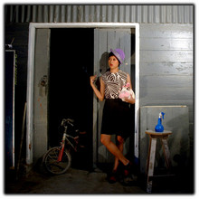 Miss Garage - Vintage Purple Hat, Handmade From Garage Bw Patterned, Handmade From Garage Rea Ankle Boots - Front door