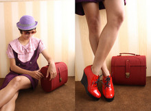 Miss Garage - The Old Lady Purple Hat, Vintage Purple Sailor Dress, Garage Store Red Lunch Box Bag, Garage Store Red Glossy Shoes - The Lady Doth Protest Too Much
