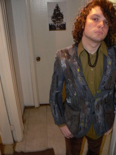 Ellis Dee - Salvation Army Tryppy Hand Painted Suede Jacket, Found It Hippie Bling, Value Village Dress Shirt, Salvation Army Velvet Pants - Happy 420!