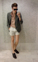 AJ English - Yves Saint Laurent Ysl Blazer, Polo Grey Ant Deep Neck, Fred Perry Shorts, Opening Ceremony Shoes - SPRUNG