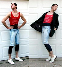Kyle DeBoef - Old Navy Tank, Grandma's Closet Blazer, Found Long Johns, Diy Bleach Treated Capri, Dumpster Shoes - America.  FUCK YEAH*