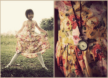 Evita Nuh - Vintage Watch, It's My Sister Old Dress Flowery, Zara White Tights - Rather than love, than money, than fame, give me truth