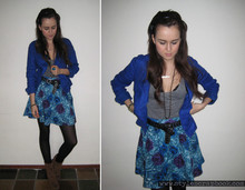 Andy T. - Forever 21 Flower Skirt, American Apparel Tri Blend Tank Top, Zara Blue Jacket - JUST 4 DAYS