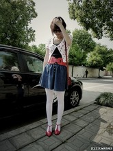 Z X-wasaki - Black Vest, Red Belt, Skirt, Whirt Socks, Red Shoes, Cherry Print - Cherry red