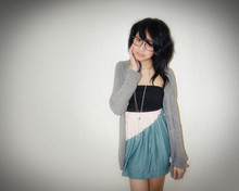 Bianca Venerayan - Black Tube Dress, Colorblock Skirt, Grey Cardigan, Magnifying Glass Necklace - You make me _