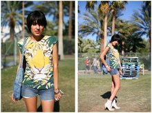 Valerie Renée - Buffalo Exchange Tiger Tee, Thrifted Denim Braided Purse, Denim Cutoffs, American Vintage Cream Granny Boots - Sun in my eyes