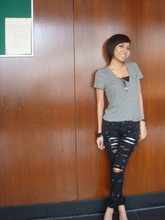 Ub-ib Indradat - Forever 21 Grey T Shirt, Stuff@Ekamai Torn Off Jeans - Sadness behind the smile
