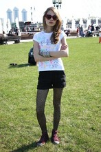 Marie Skinny - Zara Sneakers, New Look T Shirt, Topshop Sunglasses, Accessorize Bracelets, Topshop Tights, Unknown British Designer Shorts - Give Peace a Chance