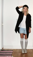 Ellen I - H&M Jacket, Diesel Shorts, American Apparel Kneehigh Socks - I'll move to paris, shoot some heroin