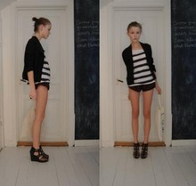 Fanny Rudén - Monki High Heels, Cheap Monday Bag, Vintage Jacket, Weekday Shirt, American Apparel Shorts - Saturday
