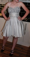 Jodie Fletcher - Swift - Topshop Black Heels, Boutique Silver Dress - Pull out your freakum dress