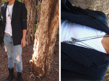Josh H. - Black Combat Boots, Justin Ripped Skinny Jeans, Studded Belt, Topman V Neck Jersey Tee, India Antique Silver Coil Armband, Thrifted Embellished Blazer - 18th May