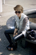 Gille Krivich - Jean Vest, Leather Leggins, Black Shoes, Rounded Glasses, Black Bag - Smoking is my only vice