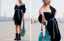 Crystal Wood - Savers Black Vevet Dress, Forever 21 Aqua Bag, Goodwill Black Combat Boots - Black Velvet