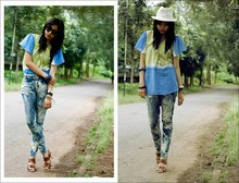 Rainbow Soul - White Fedora., Ombre Loose Top, Diy Acid Washed Jeans., Brown Platform Shoes. - Slip in - Slip out.