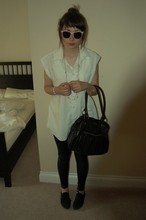 Jessica Searle - Accessorize Black Handbag, New Look Wet Look Leggings, Office Black Lace Up Plimsolls, Topshop Flowery Sunglasses, Mum's Boyfriend   I Ripped The Sleeves Off Old Oversized Men's Shirt, Urban Outfitters Long Pearl And Gold Chain Necklace, New Look Long Silver Ball Necklace, Bewitched Tacky Kid's Bracelets, H&M Gold Charm Bracelet - She's got that vibe