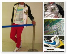 "Dan Edward Yao - Satin Varsity Jacket, Topman Printed Tshirt, Red Denim Jeans, Nike Airmax Sneakers - Behind the ""velvet"" rope"