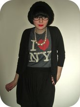 Rach Roberts - Black Cardigan, I ♥ Ny Tshirt, Black Puff Ball Skirt, Pearl Necklace, Black Wooly Berret, Old Pair Of Sunglasses - I'm having trouble with my sleep.