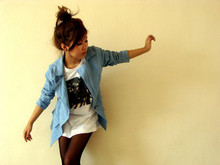 Genevieve G - Subconscious Beatles Guys' Tee, Denim Blazer, Absolutely Sheer Stockings - Will you let me have that walk?