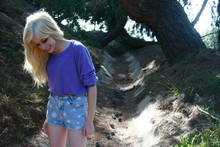Sideara 9 - American Apparel Purple Sweater, Vintage High Waisted Flower Shorts - Where flowers bloom, so does hope