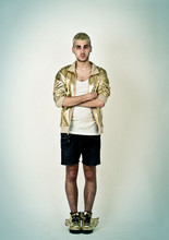 JORDI CHICLETOL - American Apparel Gold Vynil Jacket, Basic White Tee, Zara Diy Shorts, Adidas Jeremy Scott Wings - Goldmember