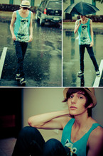 Colin H. - Urban Outfitters Polar Bear T Turned Into A Tank Top, Urban Outfitters Straw Fedora, Umbrella, Cheap Monday Tight Unwash, Vans Half Cab - F**kyeahpolarbears