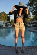 Susan Nguyen - Aritzia Shorts, Nordstrom Blue Hat, Juicy Couture Bikini Top, J.Crew Cardigan Sweater, Chloé Wedges - Lets go swimming