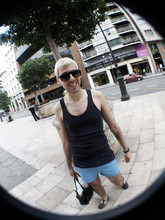 JORDI CHICLETOL - Big Sunglasses, American Apparel Navy Blue T Shirt, Mini Shorts, Alexander Hercovich Black Sandals, American Apparel Black Vinyl Bag - Valencia vice