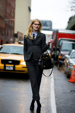Celia Ammerman - Elliott Lucca Pocketbook, Thom Browne Suit, Cardigan, Shirt, Tie, Tie Bar - The Language of Gender Through Clothing