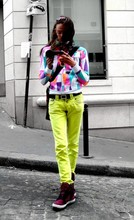 Vanya Polunin - Galliano Yellow Jeans, Supra Skytop Magenta Zebra, Paris Chatelet Colorful Sweatshirt - Summer's Here