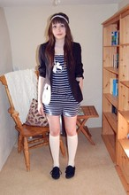 Jessica Searle - Cut From A Pair Of Knickers! Lace Headband, Dorothy Perkins Black Blazer, Topshop Pearl And Bow Necklace, Topshop Stripy Strapless Playsuit, New Look Cream Knee High Socks, Office Black Lace Up Plimsolls - Maybe dance, maybe hold hands