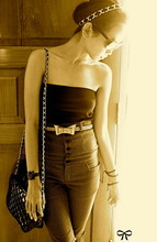 Adelle Veronica - Gold Chain Headband, Ray Ban Sunnies, Fossil, Black Bag, High Waist, Bow Belt - Bow,,