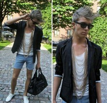 Ragnar Orav - Bianco Shoes, Ray Ban Sunglasses, Acne Studios Blazer, Cheap Monday Teared T Shirt, Gina Tricot Necklace, Second Hand Denim Shorts, H&M Bag - Bring out the 80's Bling