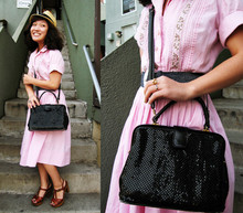 Wendy Bird - Uo Straw Fedora, Vintage Pink 50s Shirtdress, Vintage 70s Platforms, Vintage Black Mesh Bag - It's not Love... But it's still a feeling