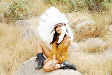 Olivia Lopez - Poncho, South Dakota Bridal Indian Head Gear - Your Love is a Deserter
