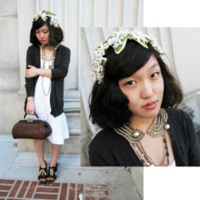 Wendy Bird - Vintage Fascinator, Grey Sweater, Vintage Gladstone Bag, Black Cutout Oxford Heels, Vintage Beaded Collar - Flapper-esque